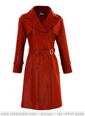 پالتو چرم طبیعی زنانه قرمز