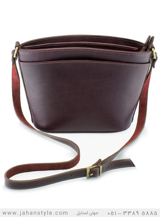 کیف دوشی روزمره چرم طبیعی زنانه زرشکی