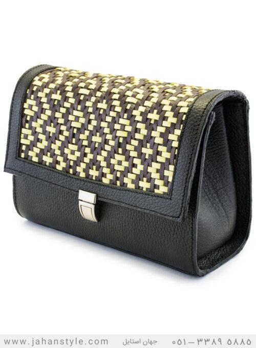 کیف دوشی طرح بافتنی چرم طبیعی مشکی