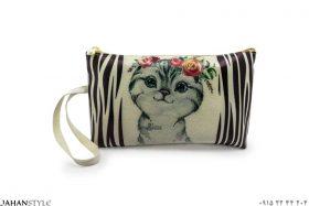 کیف لوازم آرایشی طرح گربه