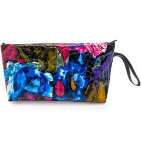 کیف لوازم آرایشی ورنی گلدار