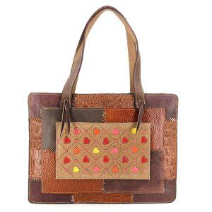 خرید کیف سنتی طرح چهل تکه چرم طبیعی