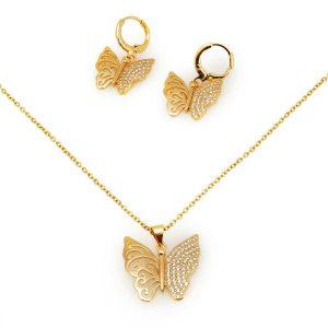 نیم ست پروانه طلایی دخترانه