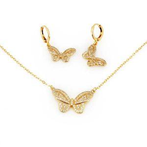 نیم ست طرح پروانه طلایی